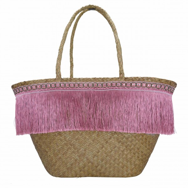 Greengate Basket bag Fringe pale pink