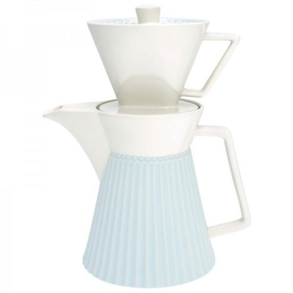 Kaffeekanne Alice Pale Blue mit Kaffeefilter von Greengate