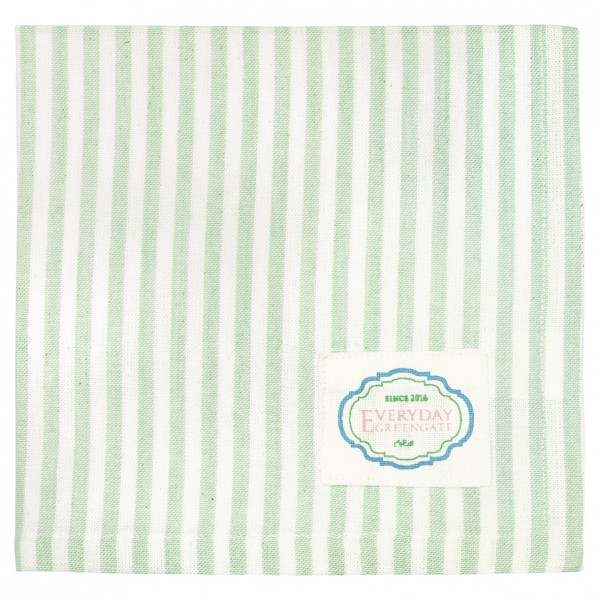 Stoffserviette Alice Stripes pale green von Greengate
