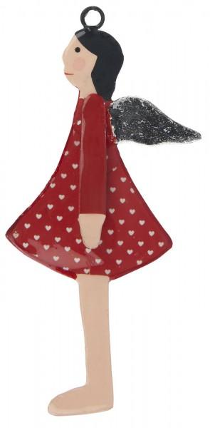 Engel zum hängen rotes Kleid silber Flügel