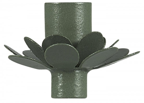 Kerzenhalter f/dünne Kerze Blume olivengrün