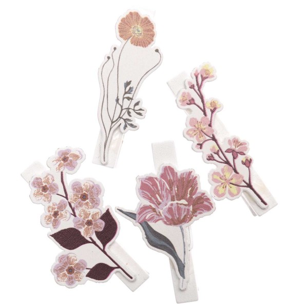 OHHH! LOVELY! Dekoklammern Blume Mauve 4 STÜCK