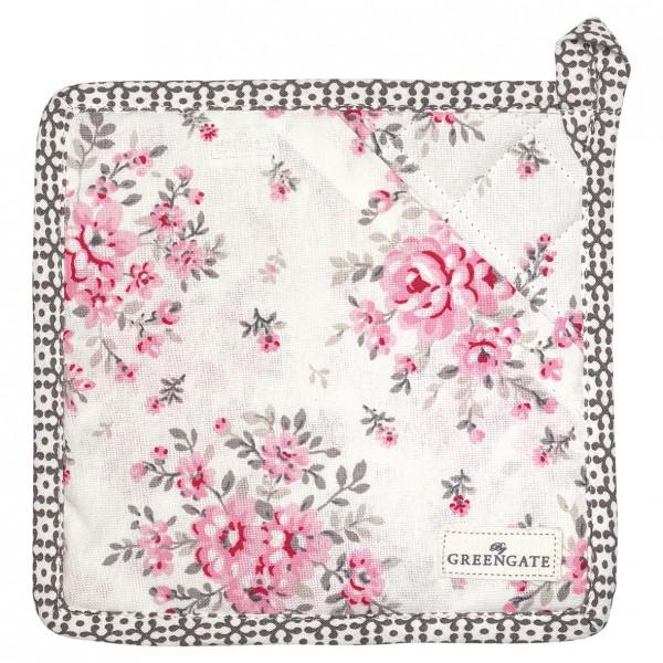 Topflappen 2er Set Flora white