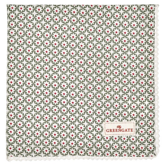 Napkin with lace Lara green von Greengate