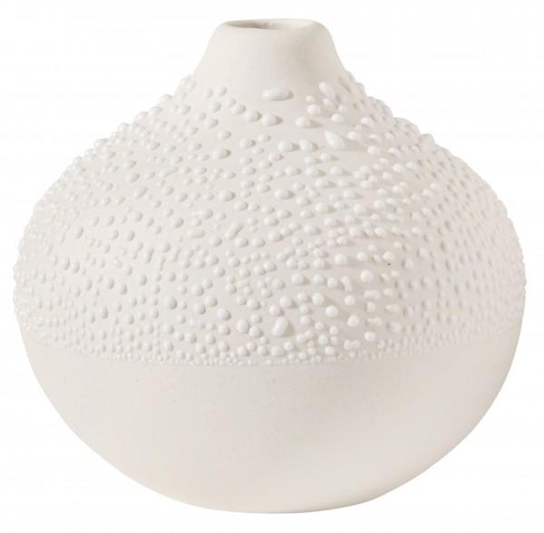 ZUHAUSE Perlenvase weiß h 6,5 cm