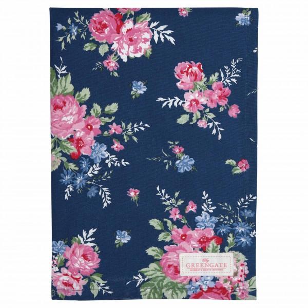 Tea towel Rose dark blue Greengate