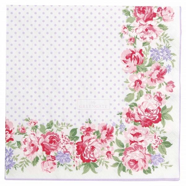 Greengate paper Napkin rose white