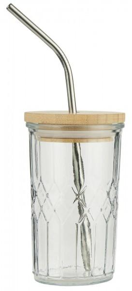 Glas Bambusdeckel und Edelstahlstrohhalm von Ib Laursen