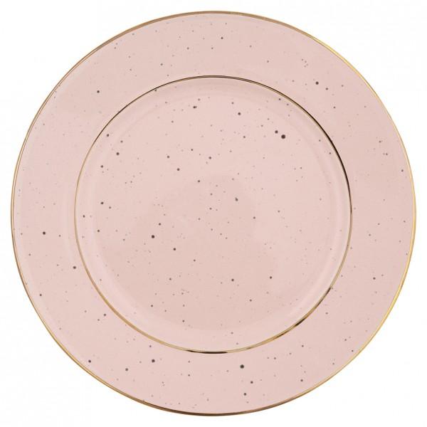 Teller pale pink mit Goldrand