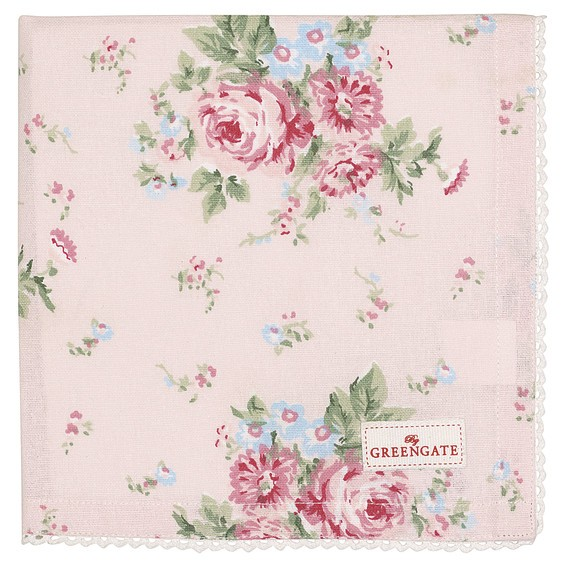 Napkin with lace Marley pale pink von Greengate