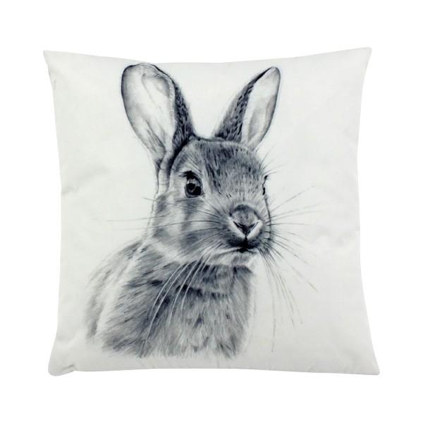 Outdoor-Kissen Cute Bunny, grau-weiß