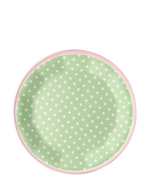 Greengate Melamin Plate Spot pale green