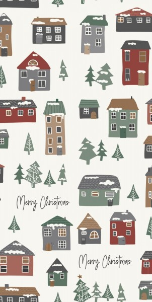 Serviette Merry Christmas Weihnachtshäuser von Ib Laursen
