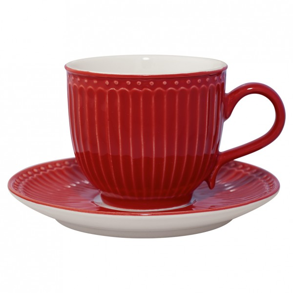 Tasse & Untertasse Alice red