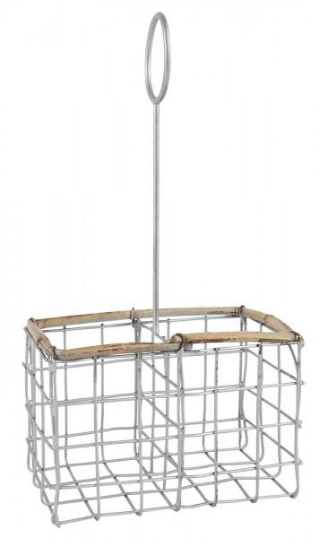 Halter für Salz/Pfeffer Streuer aus Draht mit Bambuskante