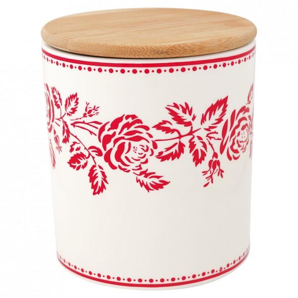 Aufbewahrungsgefäß Fleur red mit Holzdeckel medium
