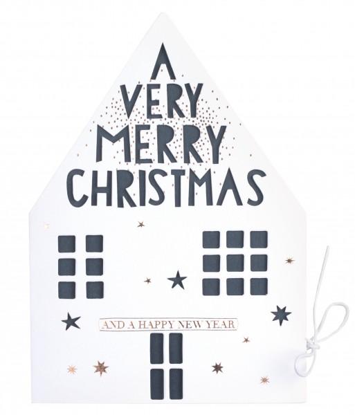 Weihnachtshauskarte a very Merry Christmas von Räder